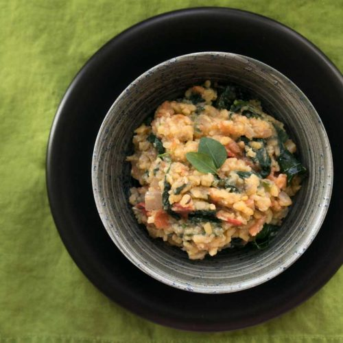 Vegetable Kootu– Dal with Spinach. Recipe from the Grande Bay Resort and Spa.