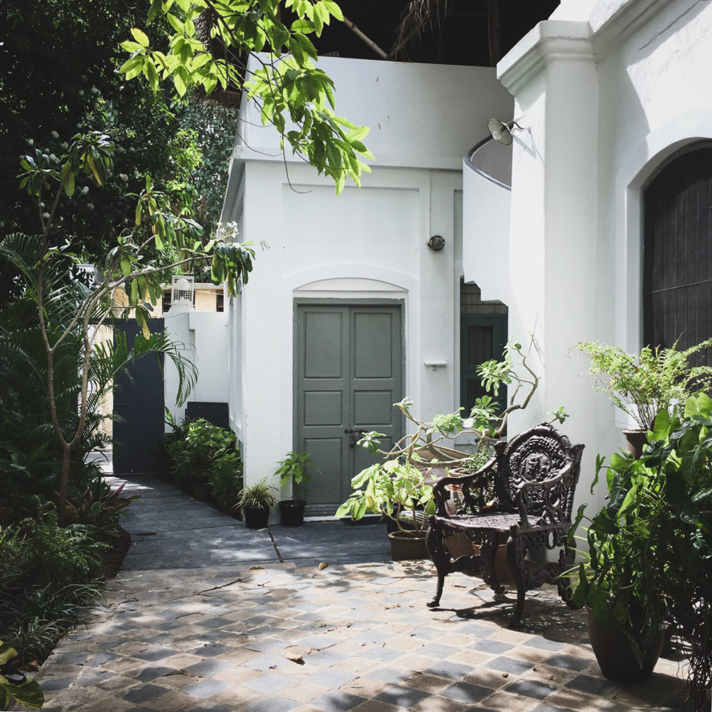 French colonial style inner courtyard in Puducherry.